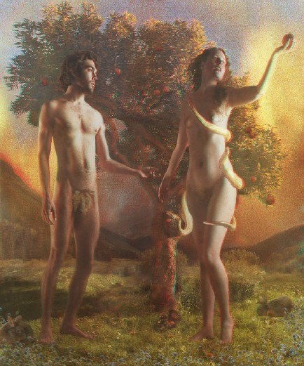 Saints Adam and Eve contemplating the fruit of the Tree of Knowledge of Good and Evil as the Serpent, wrapped around Eve, looks on