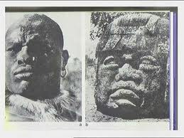 African Warrior and Olmec Head Monument