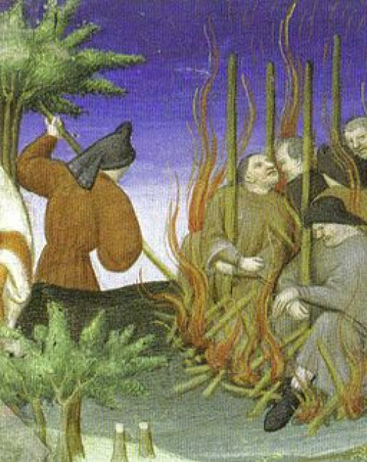 Painting around 1410 artist unknown shows Jews found in France being executed by burning