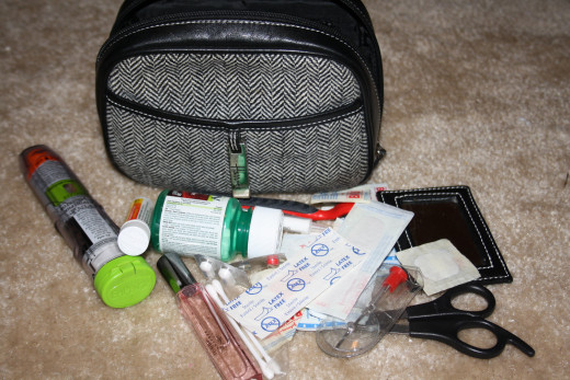"The beginning of my ""zebra bag"" medical bag I take with us wherever we go.  It doesn't have to be a HUGE bag.  Just big enough to hold the essentials."