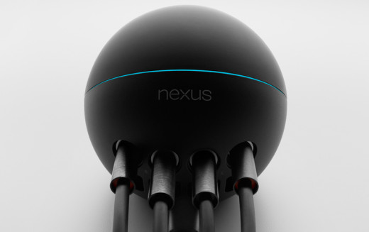 The Nexus Q from the back (fully plugged-in)