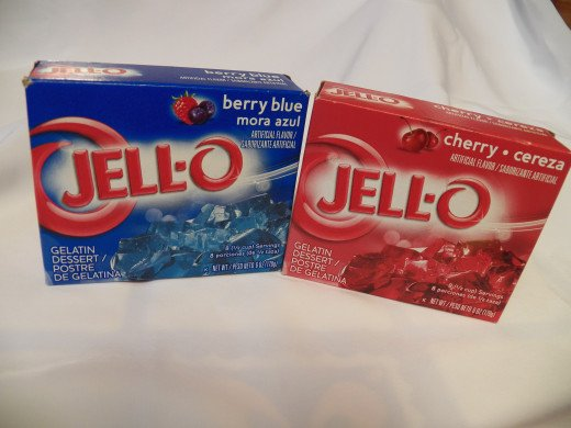 Step 1: Take two boxes of Jello, red and blue.