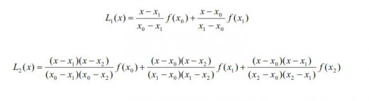 Lagrange polynomials of the degree one and two