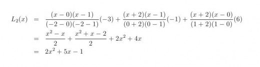 Calculation of the Lagrange polynomial for the points (-2,-3), (0,-1), (1,6)