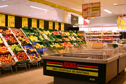 Fresh fruit and veggies look great - the store makes sure you can't ignore them!