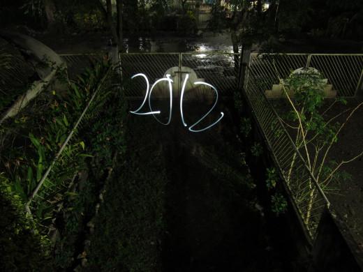 2012 Light Trail from flashlight  ISO 80 f/2.8 8sec