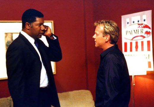 "Dennis Haysbert and Kiefer Sutherland in ""24"""