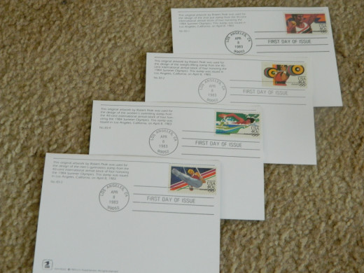 Olympic first day covers.  First day covers are postmarked on the first day that the stamp was issued.