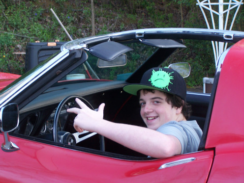 Driving a borrowed Corvette - check out that smile!