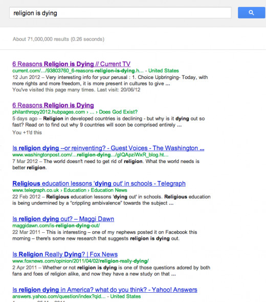 "A google search of ""Religion Is Dying"" showing my article in the top 2 searches (Rank 1 is a site linking to my article)."