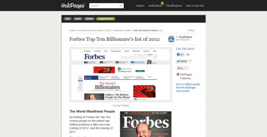 Forbes Top Ten Billionaire's list of 2012