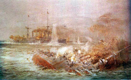 An artistic illustration of the Battle of the Falkland Islands, WW1.