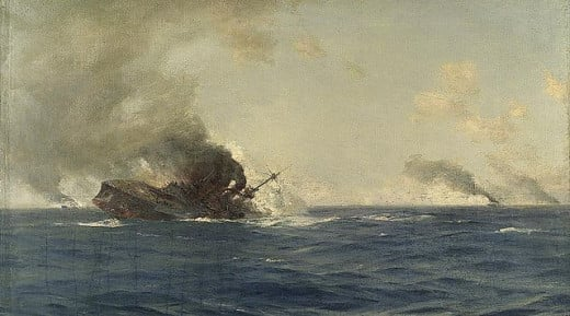 The Scharnost is sinking.  A painting by Thomas J. Somerscales.