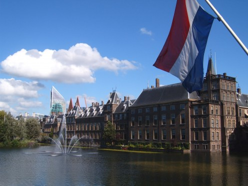 The Hofvijver, the Binnenhof and a Dutch flag