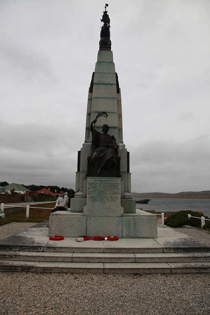 This memorial to the Battle of the Falkland Islands, WW1, stands in Port Stanley.