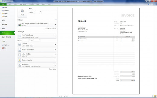An example simple invoice created using a Microsoft Excel template.