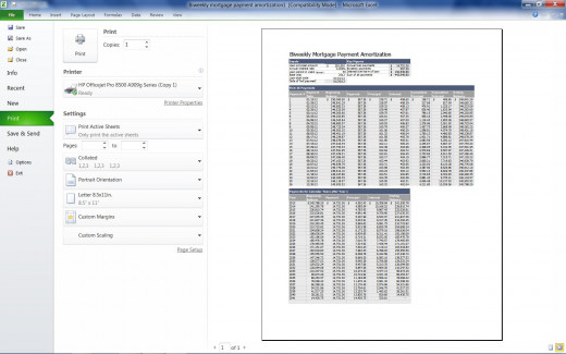 An example of a bi-monthly mortgage calculator using a Microsoft Excel template.