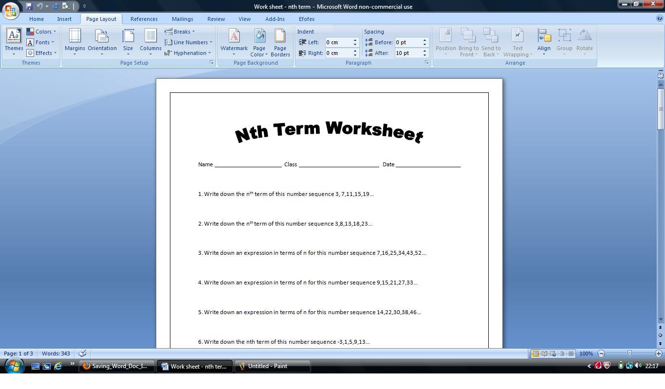 nth term worksheet or homework sheet. Includes answers (increasing ...