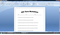 nth term worksheet or homework sheet. Includes answers (increasing sequences).
