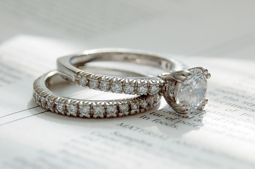 Diamond engagement  ring and matching wedding band set in platinum.