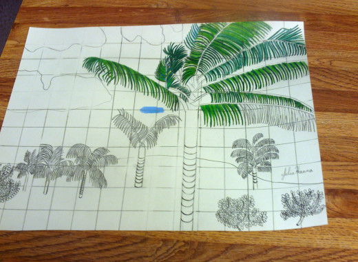 Coloring in more of the main palm tree's fronds.