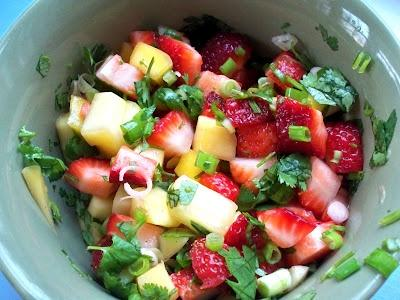 Here is a delicious Mango Strawberry Salad.