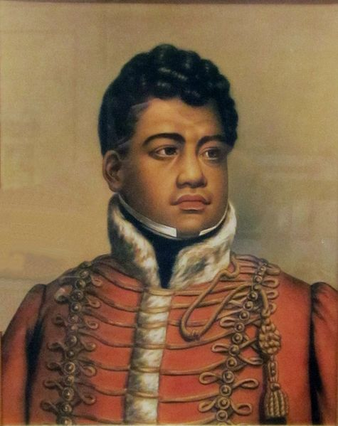 This painting of King Kamehameha II of the Kingdom of Hawaii was painted by an unknown artist between 1819 and 1824.