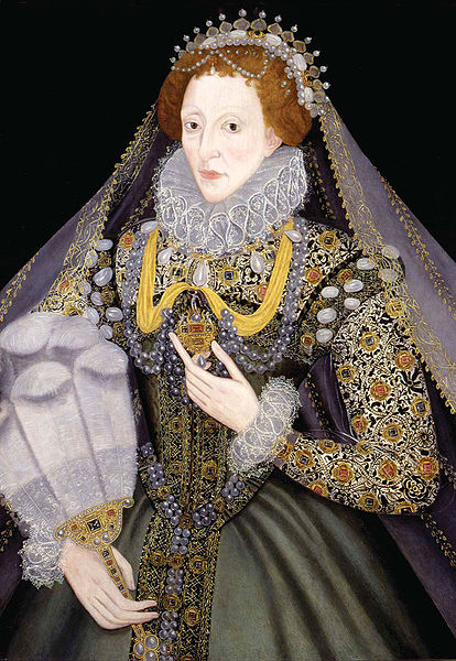 This painting of Queen Elizabeth I of England was painted by an unknown artist in the 1570s. The work is in the public domain in the United States and those countries with a copyright term of life of the author plus 100 years or less.