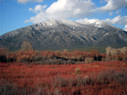 Taos Mountains dominate the landscape of Taos in northern New Mexico.