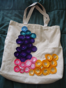 Bright and Colorful- 2 layer embellishments with a sequin circle in the middle.