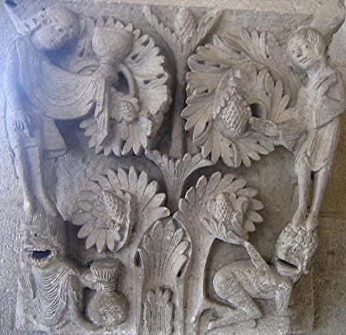 Chapiteau de la salle capitulaire, cathédrale d'Autun, France.