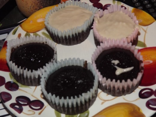 Finished Dark Chocolate Spice Cupcakes.