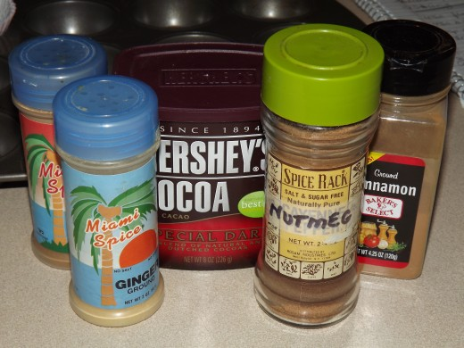 Ingredients for Dark Chocolate Spice Cupcakes.