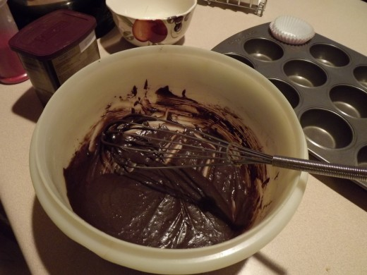 Dark chocolate spice cupcake batter ready for tins.
