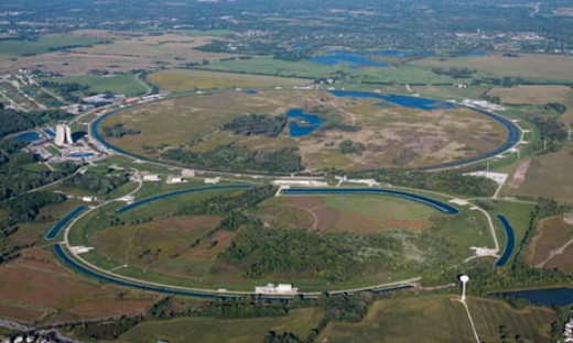 This is the tevatron near Chicago which found initial suggestions of the Higgs boson. It is small compared to the Large Hadron Collider that found the evidence.