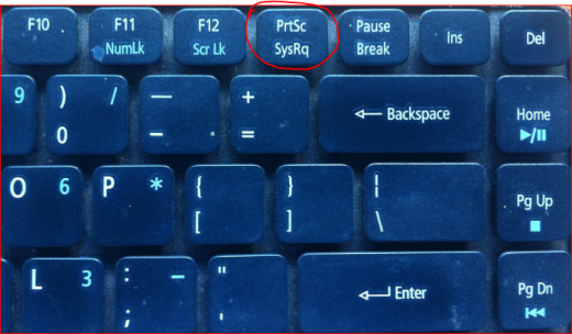 PrtSc key on an Acer laptop keyboard