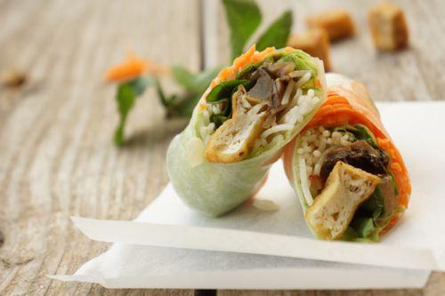tofu mushroom summer roll - goi cuon chay dau