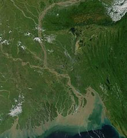 This image shows the depth of the flooding in Bangladesh, the brown areas being those areas that have flooded recently.