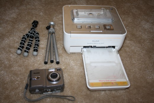 My first Kodak Extreme Compact Camera with a tri-pod, a claw-pod and it's very own printer.