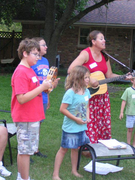 Make up songs out of Bible verses--let the kids use rhythm instruments to sing along!