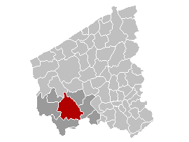 Map location of Ypres, Belgium