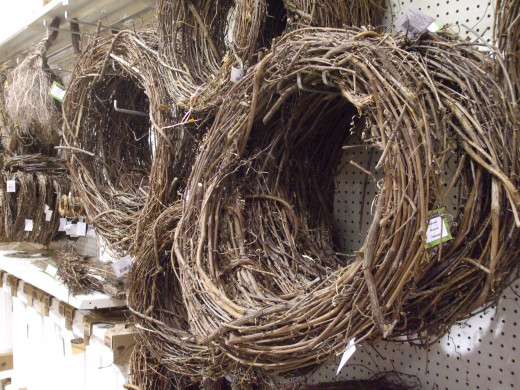 Dried grapevine wreaths