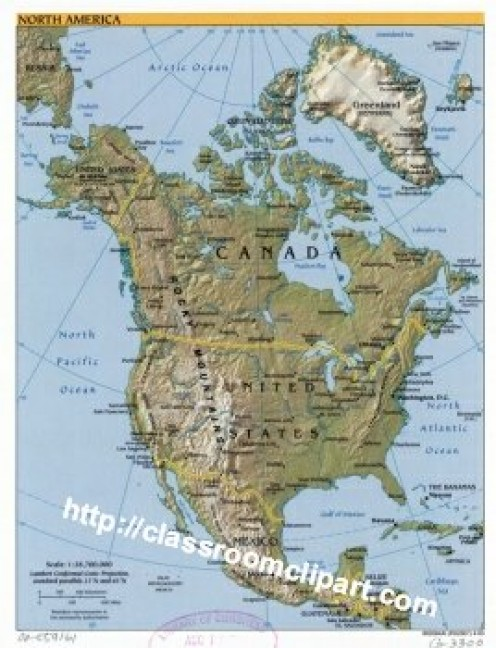 Topographical Map of North America