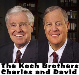 The Koch brothers, who have pledged $400 million dollars to defeat President Obama, pictured here.