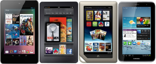 Google Nexus 7, Amazon Kindle Fire, Barnes & Noble Nook Tablet, Samsung Galaxy Tab 2 7.0