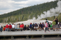 people waiting by Old Faithful, Yellowstone National Park