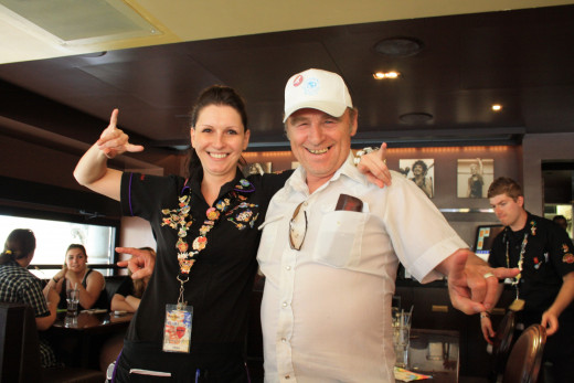 My dad Ron and the awesome American waitress!  He even gave her the Sturgis Rally pin he had on his hat :)