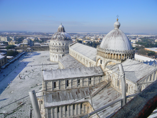 View of the Cathedral and Baptistry from the top of the Leaning Tower
