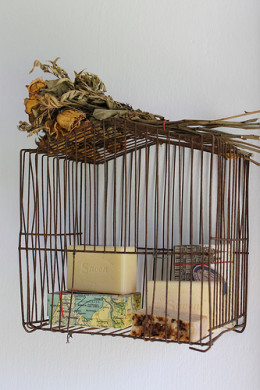 A Bathroom Storage Unit Made from a Vintage Birdcage