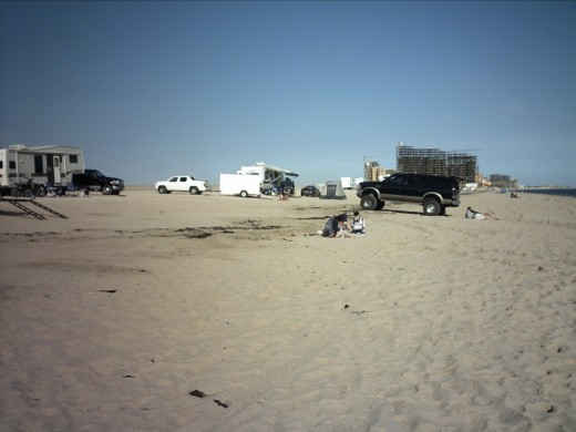 Campers at the north end of the beach.